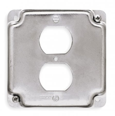 Raco Galvanized Zinc Electrical Box Cover, Box Type: Square, Number of Gangs: 1, 4