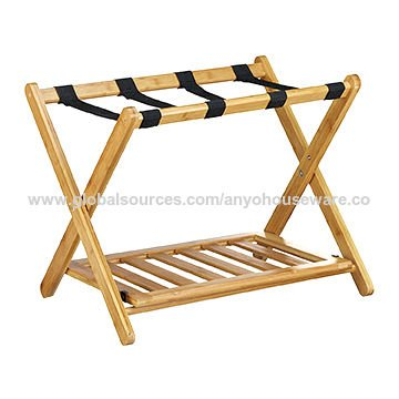Bamboo Multifunction Foldable Luggage Rack with a Lower Shelf