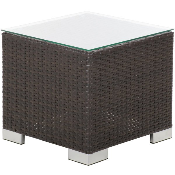 BFM Seating PH5105JV-GL Aruba Java Wicker End Table with Tempered Glass Top