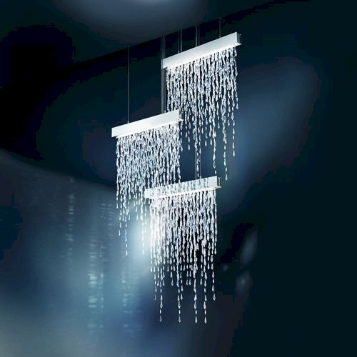 Crystalline Icicles SCR135E-SSS SCR135E-SSS Crystalline Icicles 15 Light 220V Pendant in Stainless Steel with Clear Crystals From Swarovski