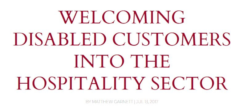 Welcoming Disabled Customers into the Hospitality Sector