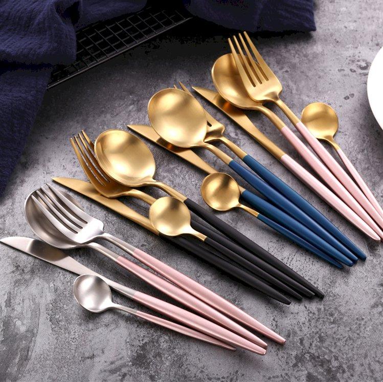Discount Inexpensive Flatware Set Gold Black Handle Royal Cutlery