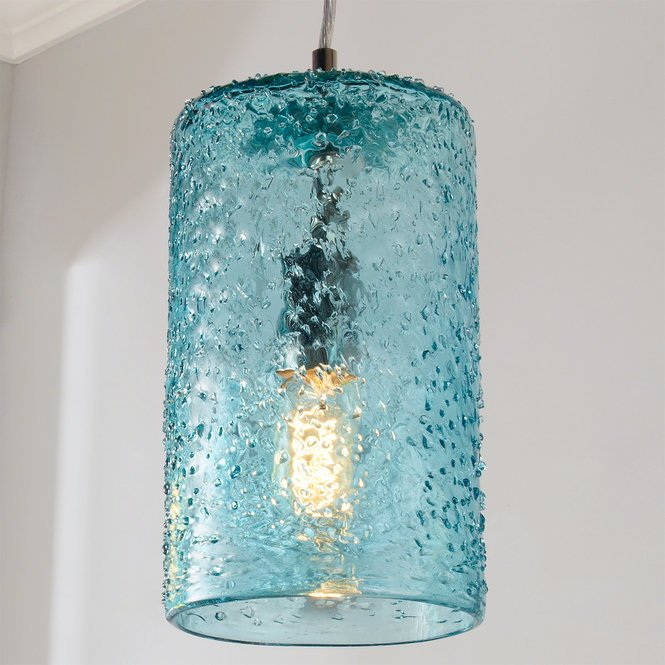 Pebbled Glass Cylinder Pendant