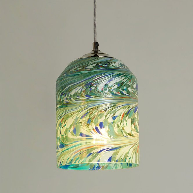 Jade Mosaic Wave Glass Pendant