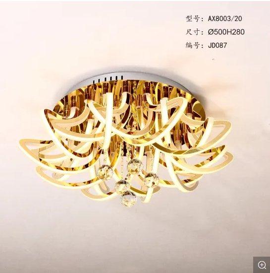 32 Lights Decorative Large Size K9 Crystal Acrylic Morden Hotel Gold LED Ceiling Pendant Lighting