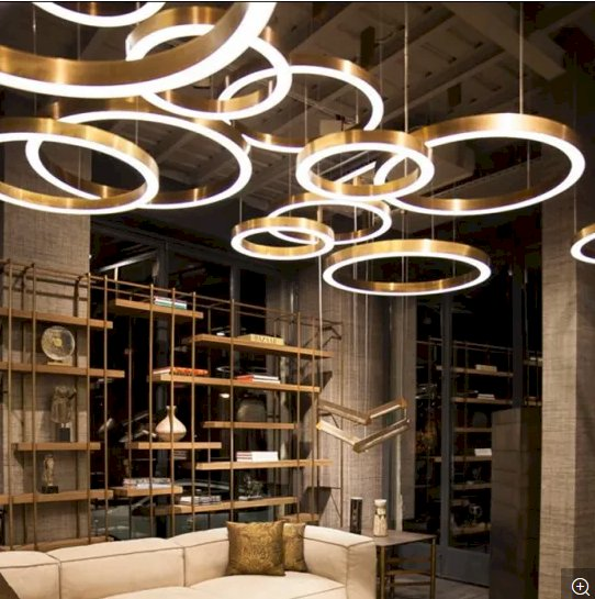 Antique Brass Modern LED Chandelier Hanging Pendant Lighting in Several Different Size for Hotel Project