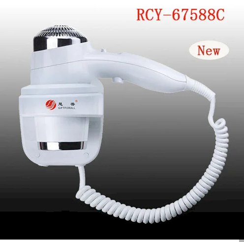 Huipu Wall Mounted Hair Dryer Hotel Bathroom White Plastic 2000W Hair Dryer
