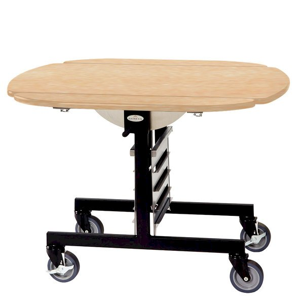 Geneva 74405 Mobile Oval Top Tri-Fold Room Service Table with Maple Finish - 36\