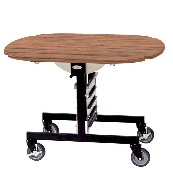 Geneva 74405VC Mobile Round Top Tri-Fold Room Service Table with Victorian Cherry Finish - 36