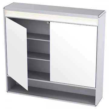 Cabinet with 2 doors and LED light + shelf 80 x 75cm