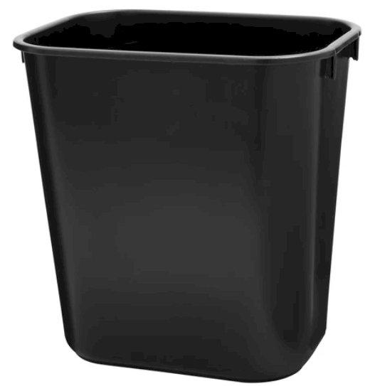 Rubbermaid Commercial Products Plastic Wastebasket, 13 Qt., Black