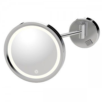 Wall mounted mirror with LED lighting - Round - Magnification (3X)