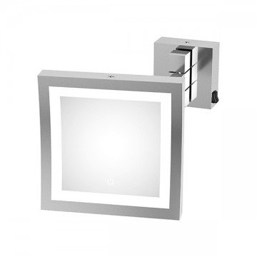 Magnifying wall mounted mirror with LED lighting - Square - Magnification (3X)