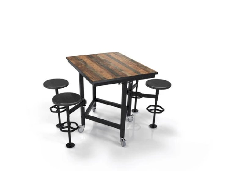 Palmer Hamilton Rally Table, 4-seat, Laminate Top, SmartEdge, Silver Frame, Casters, Shelf, 36
