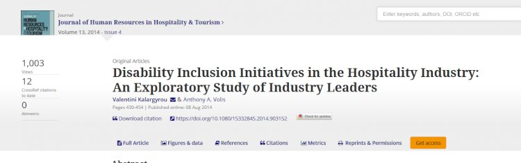 Disability Inclusion Initiatives in the Hospitality Industry: An Exploratory Study of Industry Leaders