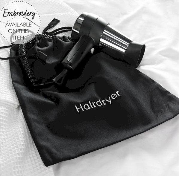 Hairdryer Bag, Black Cotton Drawstring