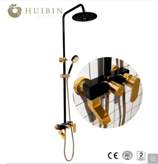 New Sensiry Hotel Style Luxury Bathroom Black and Gold Shower Set with 3 Functions