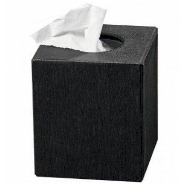 Textured Tissue Box Holder Black