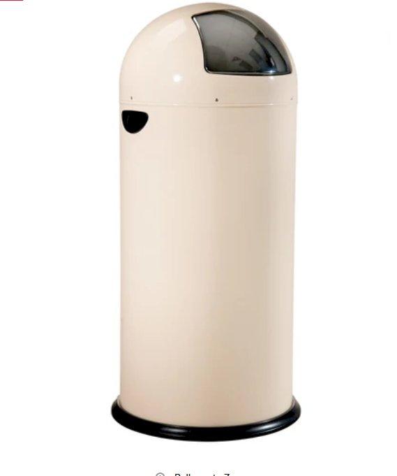Trash receptacle, Registry, Push Top, Cream, 13.7 gal