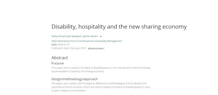 Disability, hospitality and the new sharing economy
