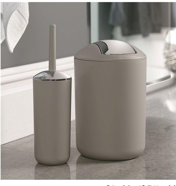Brasil Bin & Toilet Brush Set Taupe