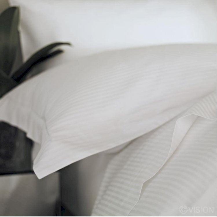 Linear White Polycotton Satin Stripe Pillowcase