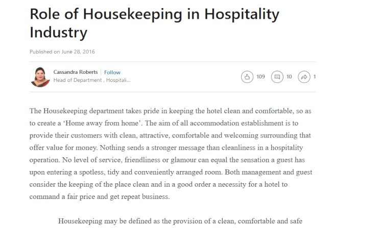 Role of Housekeeping in Hospitality Industry