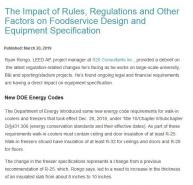 The Impact of Rules, Regulations and Other Factors on Foodservice Design and Equipment Specification