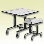 Room Service Table & Cart with 2 Bi-Fold Dropleaves, Rectangular Tabletop, 35.5x39