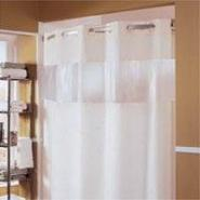Hookless The Major Shower Curtain with Bubble Window, Polyester, 71x77, Beige