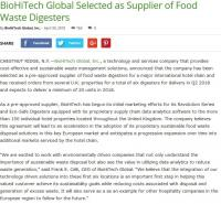 BioHiTech Global Selected as Supplier of Food Waste Digesters
