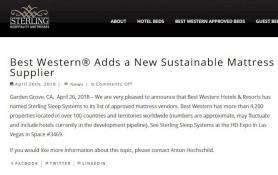 Best Western Adds a New Sustainable Mattress Supplier