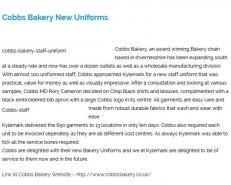 Cobbs Bakery New Uniforms