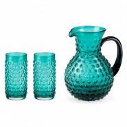 Hobnail Vintage Style Glassware Set - Aqua Blue - Includes Serving Pitcher & 2 Tumblers