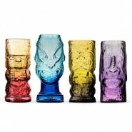 Andrew Iannazzi Handcrafted Mold Blown Colored Glass Tiki Mugs - Set of 4