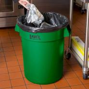 This Lavex Janitorial 32 gallon green trash can is the ideal solution for efficient waste management in your establishment.
