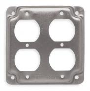 Raco Galvanized Zinc Electrical Box Cover, Box Type: Square, Number of Gangs: 4, 4