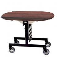 Geneva 74405RM Mobile Round Top Tri-Fold Room Service Table with Red Maple Finish - 36
