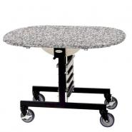 Geneva 74405SGS Mobile Oval Top Tri-Fold Room Service Table with Gray Sand Finish - 36