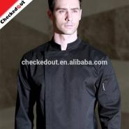 High quality long sleeve stand collar restaurant hotel coat kitchen cooking workwear jacket black chef uniform