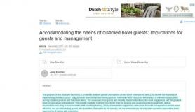 Accommodating the needs of disabled hotel guests: Implications for guests and management
