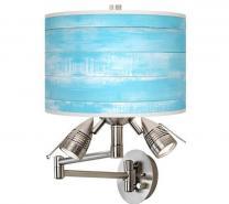 Barnyard Blue Giclee Swing Arm Wall Lamp