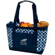 Large Insulated Polycanvas Cooler Tote - Trellis Blue