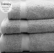 Luxury 600g Hotel Towels and Face Cloths Silver Grey