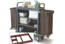 DELUXE HIGH CAPACITY METAL HOUSEKEEPING CART WITH MAHOGANY PANELS