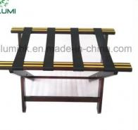 5 Star Hotel Metal Gold Strips Wooden Luggage Rack